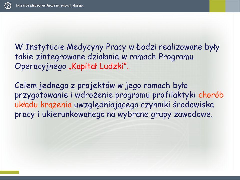 """W Instytucie Medycyny Pracy w Łodzi realizowane były takie zintegrowane działania w ramach Programu Operacyjnego """"Kapitał Ludzki ."""