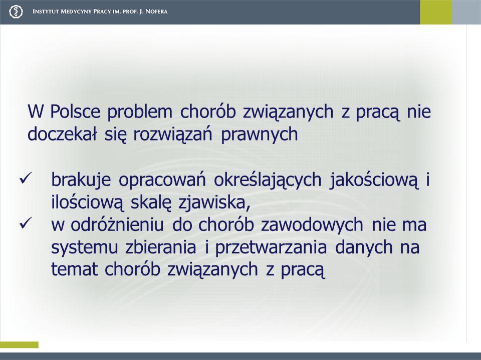 brakuje opracowań określających jakościową i ilościową skalę zjawiska, w odróżnieniu do chorób zawodowych nie ma systemu zbierania i przetwarzania danych na temat chorób związanych z pracą W Polsce problem chorób związanych z pracą nie doczekał się rozwiązań prawnych