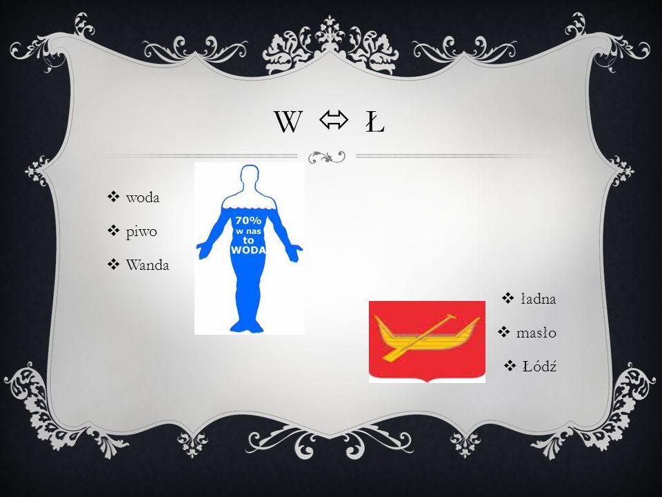 W  Ł  woda  piwo  Wanda  ładna  masło  Łódź