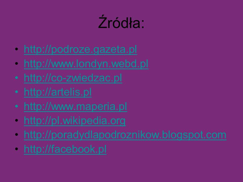 Źródła: http://podroze.gazeta.pl http://www.londyn.webd.pl http://co-zwiedzac.pl http://artelis.pl http://www.maperia.pl http://pl.wikipedia.org http:
