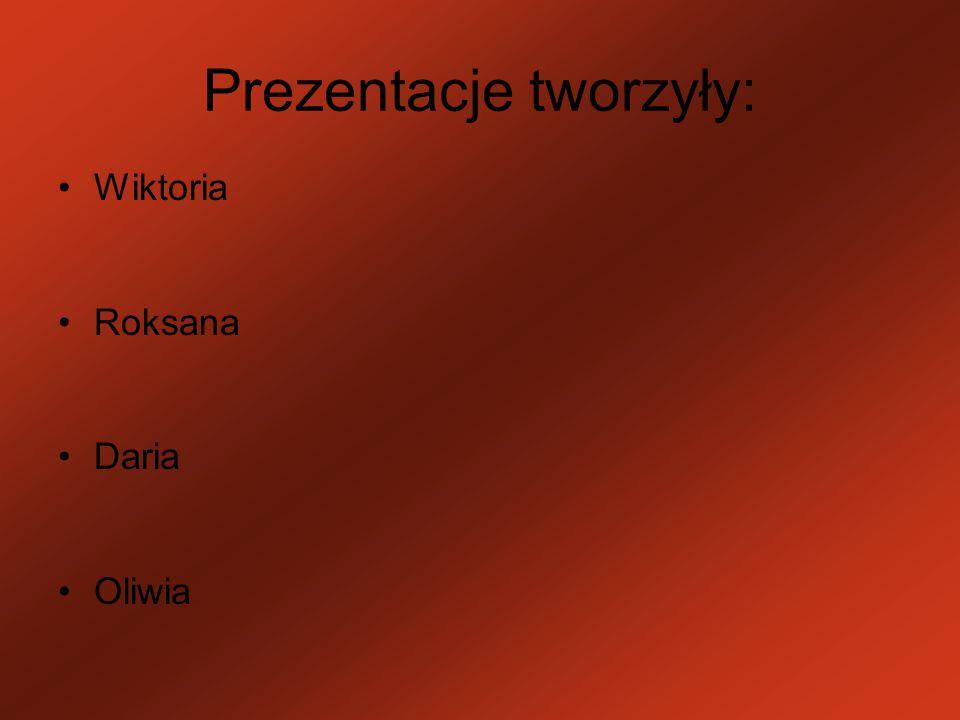 Prezentacje tworzyły: Wiktoria Roksana Daria Oliwia