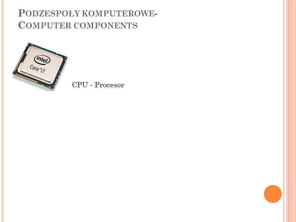 P ODZESPOŁY KOMPUTEROWE - C OMPUTER COMPONENTS CPU - Procesor Motherboard – Płyta Główna