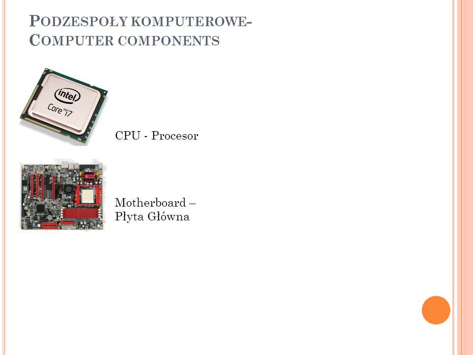 P ODZESPOŁY KOMPUTEROWE - C OMPUTER COMPONENTS CPU - Procesor Motherboard – Płyta Główna Soundcard – Karta dźwiękowa
