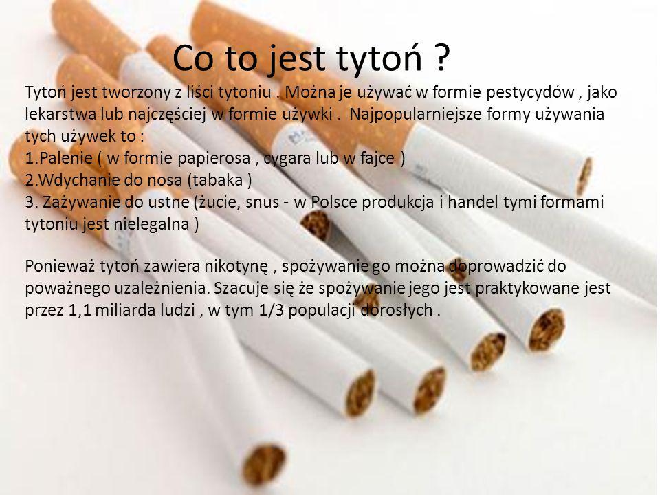 Co to jest tytoń ? Tytoń jest tworzony z liści tytoniu. Można je używać w formie pestycydów, jako lekarstwa lub najczęściej w formie używki. Najpopula