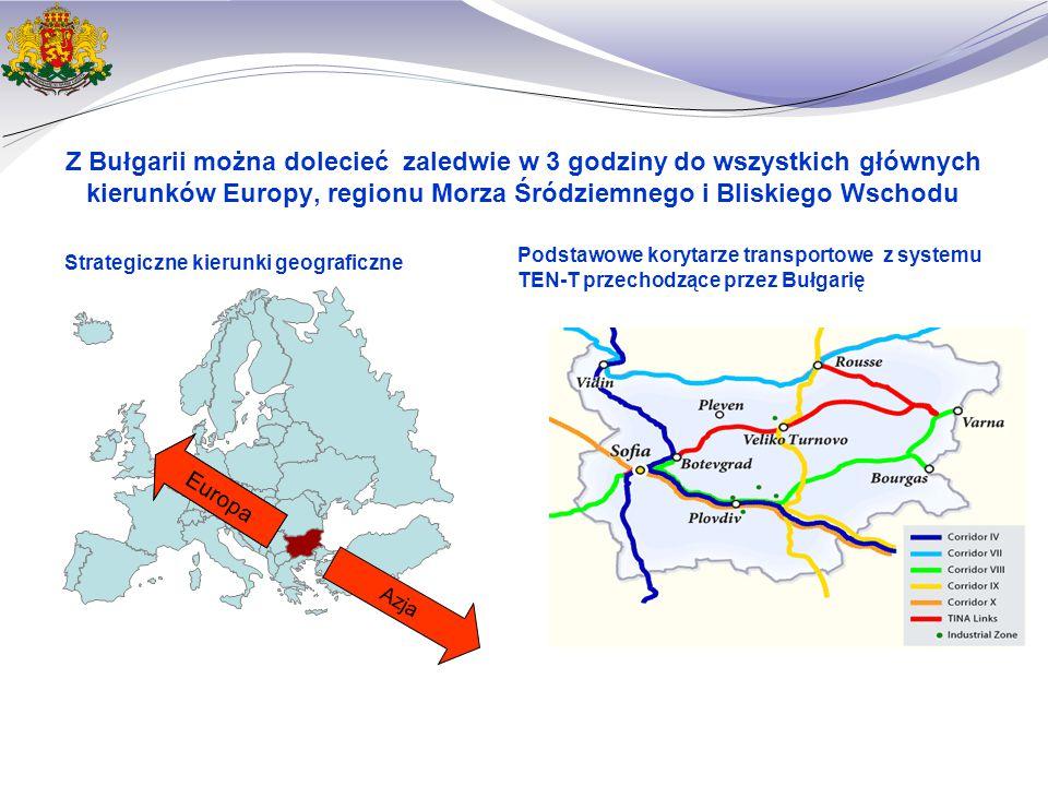 Z Bułgarii można dolecieć zaledwie w 3 godziny do wszystkich głównych kierunków Europy, regionu Morza Śródziemnego i Bliskiego Wschodu Strategiczne kierunki geograficzne Podstawowe korytarze transportowe z systemu TEN-T przechodzące przez Bułgarię UE Azja Europa