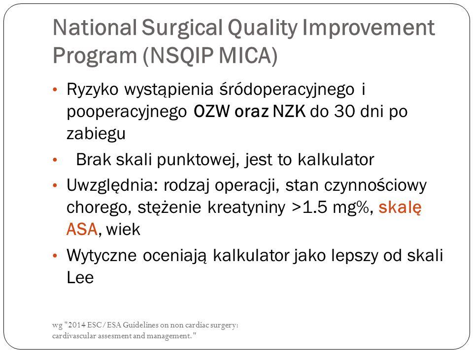 wg 2014 ESC/ESA Guidelines on non cardiac surgery: cardivascular assesment and management. National Surgical Quality Improvement Program (NSQIP MICA) Ryzyko wystąpienia śródoperacyjnego i pooperacyjnego OZW oraz NZK do 30 dni po zabiegu Brak skali punktowej, jest to kalkulator Uwzględnia: rodzaj operacji, stan czynnościowy chorego, stężenie kreatyniny >1.5 mg%, skalę ASA, wiek Wytyczne oceniają kalkulator jako lepszy od skali Lee
