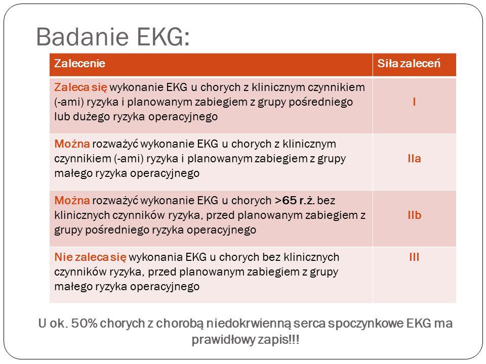 Badanie EKG: ZalecenieSiła zaleceń Zaleca się wykonanie EKG u chorych z klinicznym czynnikiem (-ami) ryzyka i planowanym zabiegiem z grupy pośredniego lub dużego ryzyka operacyjnego I Można rozważyć wykonanie EKG u chorych z klinicznym czynnikiem (-ami) ryzyka i planowanym zabiegiem z grupy małego ryzyka operacyjnego IIa Można rozważyć wykonanie EKG u chorych >65 r.ż.