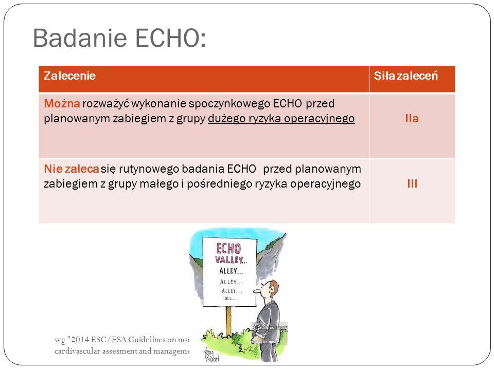 wg 2014 ESC/ESA Guidelines on non cardiac surgery: cardivascular assesment and management. Badanie ECHO: ZalecenieSiła zaleceń Można rozważyć wykonanie spoczynkowego ECHO przed planowanym zabiegiem z grupy dużego ryzyka operacyjnegoIIa Nie zaleca się rutynowego badania ECHO przed planowanym zabiegiem z grupy małego i pośredniego ryzyka operacyjnegoIII