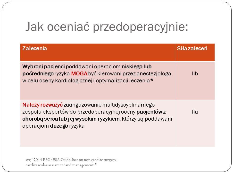 wg 2014 ESC/ESA Guidelines on non cardiac surgery: cardivascular assesment and management. Jak oceniać przedoperacyjnie: ZaleceniaSiła zaleceń Wybrani pacjenci poddawani operacjom niskiego lub pośredniego ryzyka MOGĄ być kierowani przez anestezjologa w celu oceny kardiologicznej i optymalizacji leczenia* IIb Należy rozważyć zaangażowanie multidyscyplinarnego zespołu ekspertów do przedoperacyjnej oceny pacjentów z chorobą serca lub jej wysokim ryzykiem, którzy są poddawani operacjom dużego ryzyka IIa