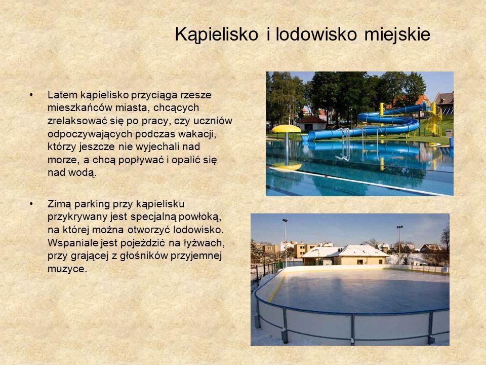 Kąpielisko i lodowisko miejskie Latem kąpielisko przyciąga rzesze mieszkańców miasta, chcących zrelaksować się po pracy, czy uczniów odpoczywających podczas wakacji, którzy jeszcze nie wyjechali nad morze, a chcą popływać i opalić się nad wodą.