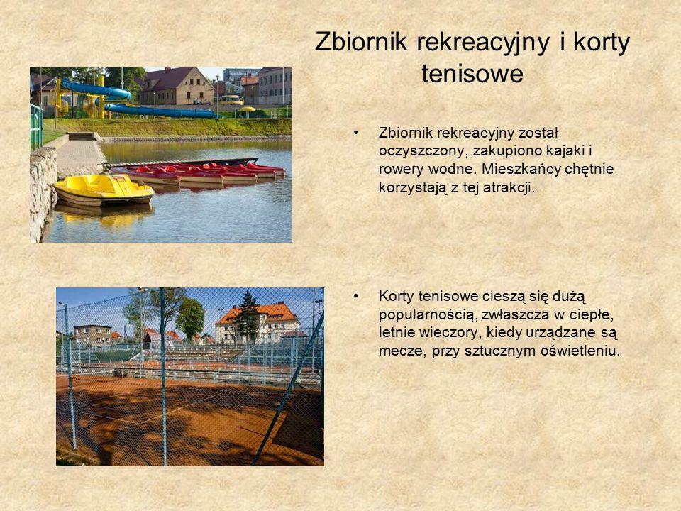 Zbiornik rekreacyjny i korty tenisowe Zbiornik rekreacyjny został oczyszczony, zakupiono kajaki i rowery wodne.