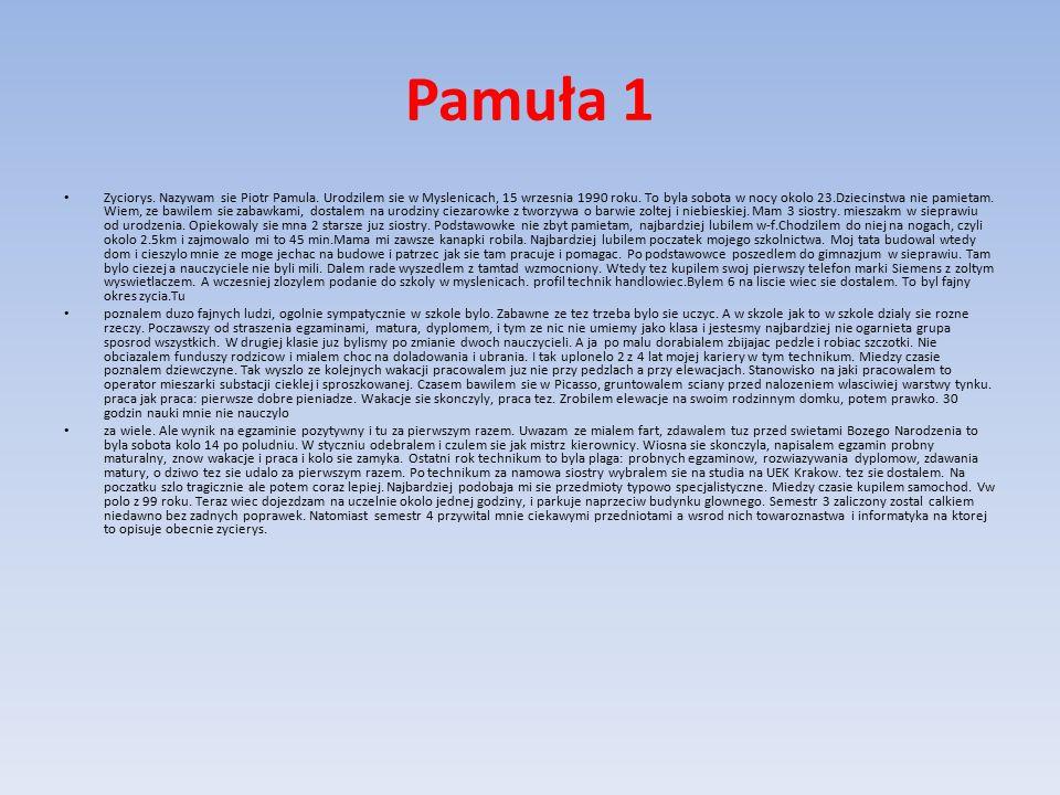 Pamuła 1 Zyciorys. Nazywam sie Piotr Pamula. Urodzilem sie w Myslenicach, 15 wrzesnia 1990 roku.