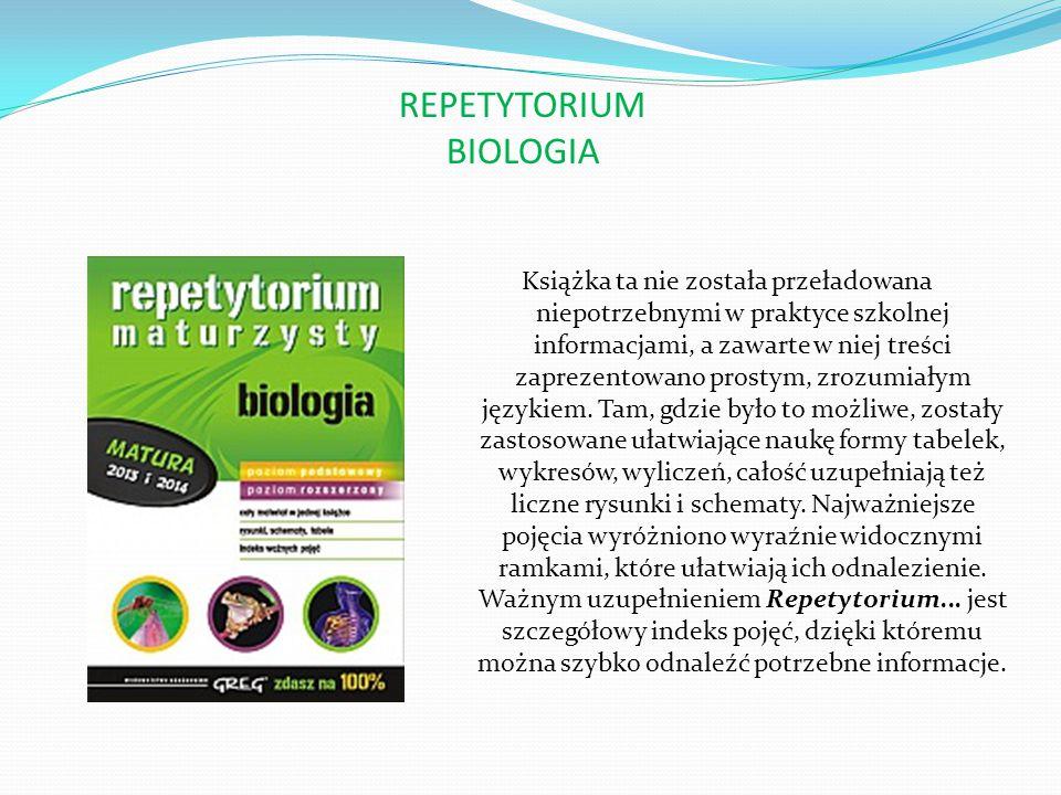 REPETYTORIUM CHEMIA Największym atutem publikacji są liczne tabele i zestawienia, dzięki którym materiał podany jest w sposób przejrzysty i czytelny.