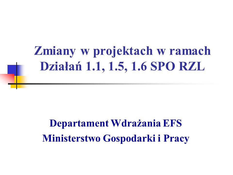 Zmiany w projektach w ramach Działań 1.1, 1.5, 1.6 SPO RZL Departament Wdrażania EFS Ministerstwo Gospodarki i Pracy