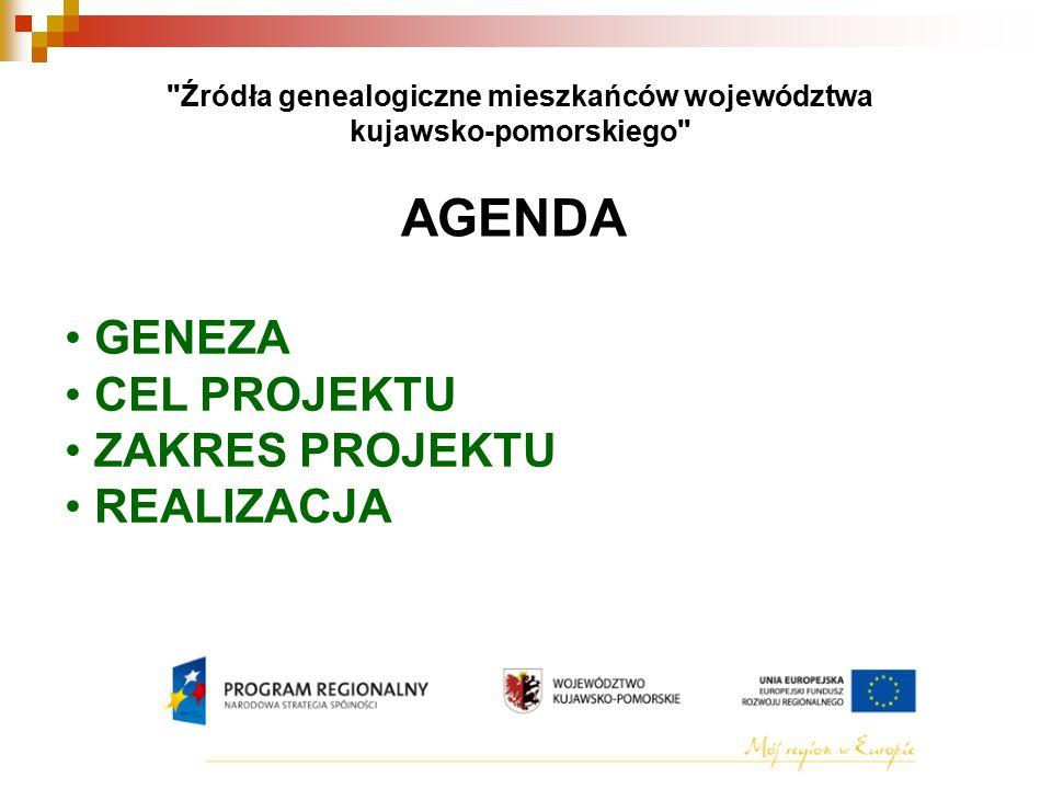 Źródła genealogiczne mieszkańców województwa kujawsko-pomorskiego AGENDA GENEZA CEL PROJEKTU ZAKRES PROJEKTU REALIZACJA
