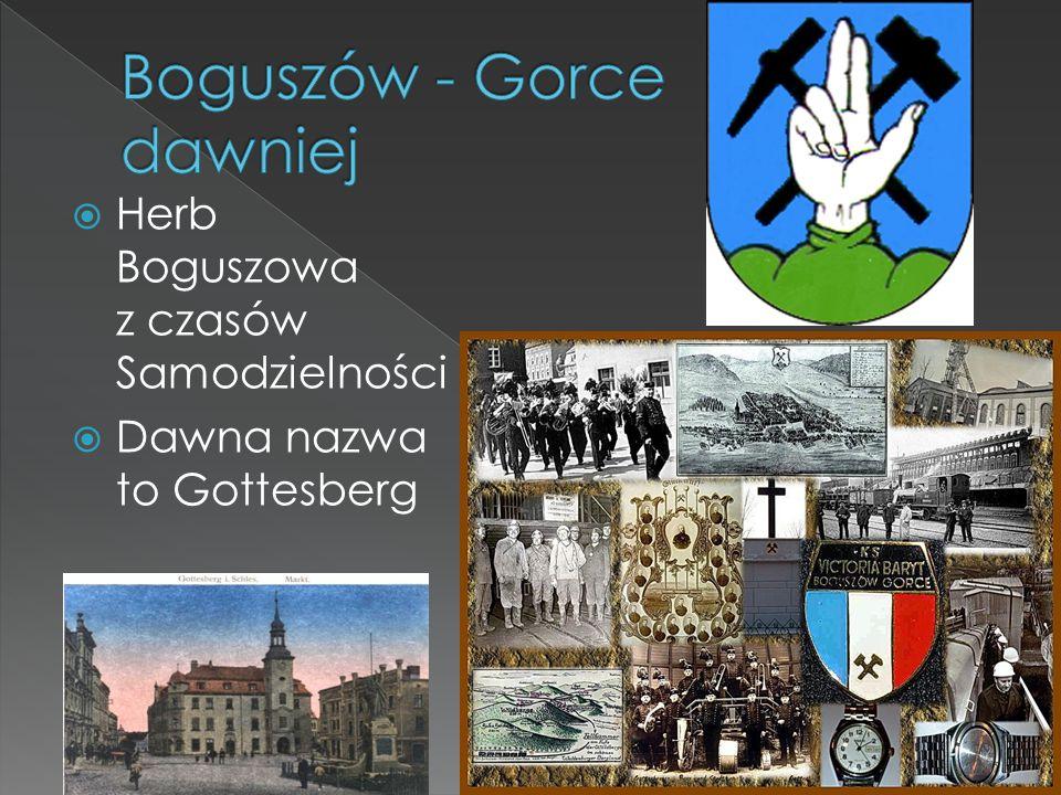  Herb Boguszowa z czasów Samodzielności  Dawna nazwa to Gottesberg
