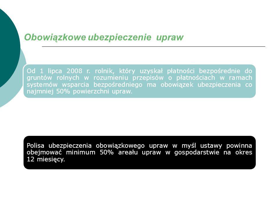 Obowiązkowe ubezpieczenie upraw Od 1 lipca 2008 r. rolnik, który uzyskał płatności bezpośrednie do gruntów rolnych w rozumieniu przepisów o płatnościa