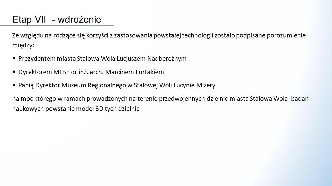Etap VII - wdrożenie Ze względu na rodzące się korzyści z zastosowania powstałej technologii zostało podpisane porozumienie między:  Prezydentem miasta Stalowa Wola Lucjuszem Nadbereżnym  Dyrektorem MLBE dr inż.