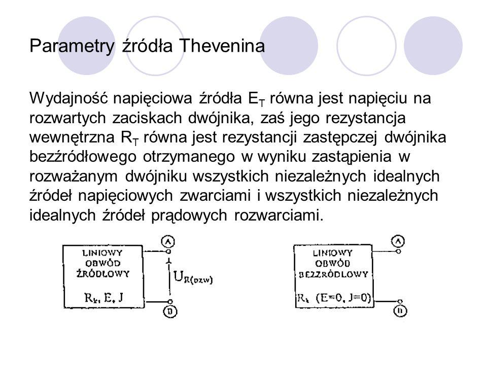 Parametry źródła Thevenina Wydajność napięciowa źródła E T równa jest napięciu na rozwartych zaciskach dwójnika, zaś jego rezystancja wewnętrzna R T r