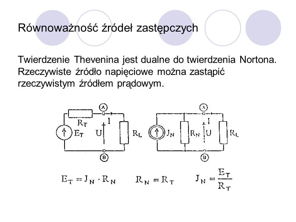 Równoważność źródeł zastępczych Twierdzenie Thevenina jest dualne do twierdzenia Nortona. Rzeczywiste źródło napięciowe można zastąpić rzeczywistym źr