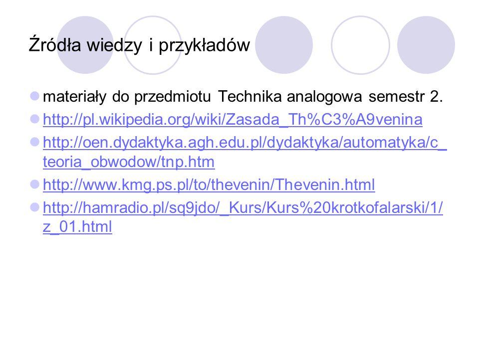 Źródła wiedzy i przykładów materiały do przedmiotu Technika analogowa semestr 2. http://pl.wikipedia.org/wiki/Zasada_Th%C3%A9venina http://oen.dydakty
