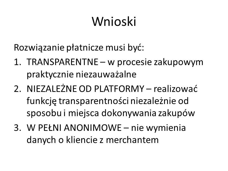 Wnioski Rozwiązanie płatnicze musi być: 1.TRANSPARENTNE – w procesie zakupowym praktycznie niezauważalne 2.NIEZALEŻNE OD PLATFORMY – realizować funkcję transparentności niezależnie od sposobu i miejsca dokonywania zakupów 3.W PEŁNI ANONIMOWE – nie wymienia danych o kliencie z merchantem