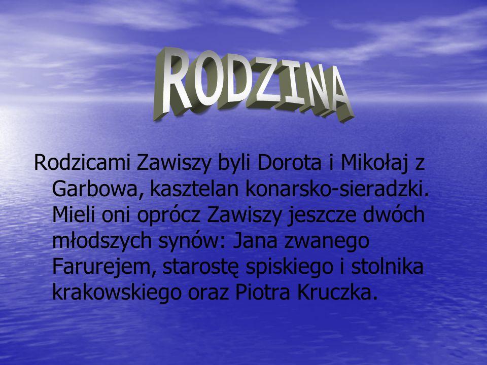 Rodzicami Zawiszy byli Dorota i Mikołaj z Garbowa, kasztelan konarsko-sieradzki. Mieli oni oprócz Zawiszy jeszcze dwóch młodszych synów: Jana zwanego