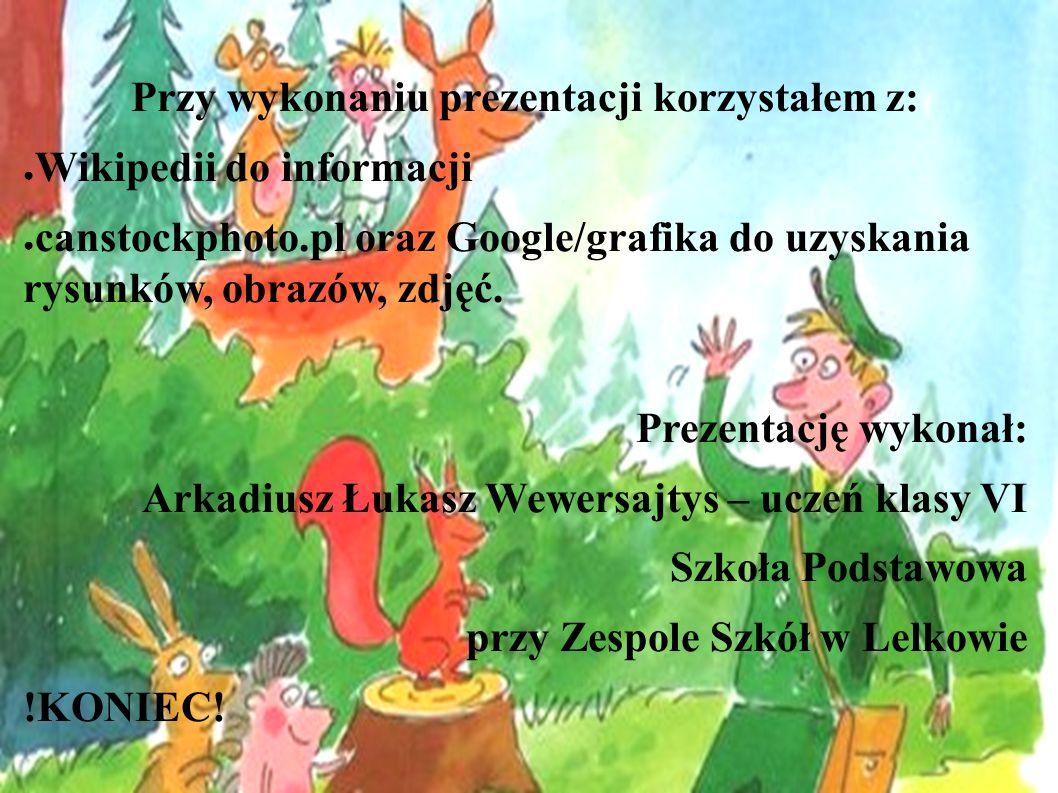 Przy wykonaniu prezentacji korzystałem z: ● Wikipedii do informacji ● canstockphoto.pl oraz Google/grafika do uzyskania rysunków, obrazów, zdjęć. Prez