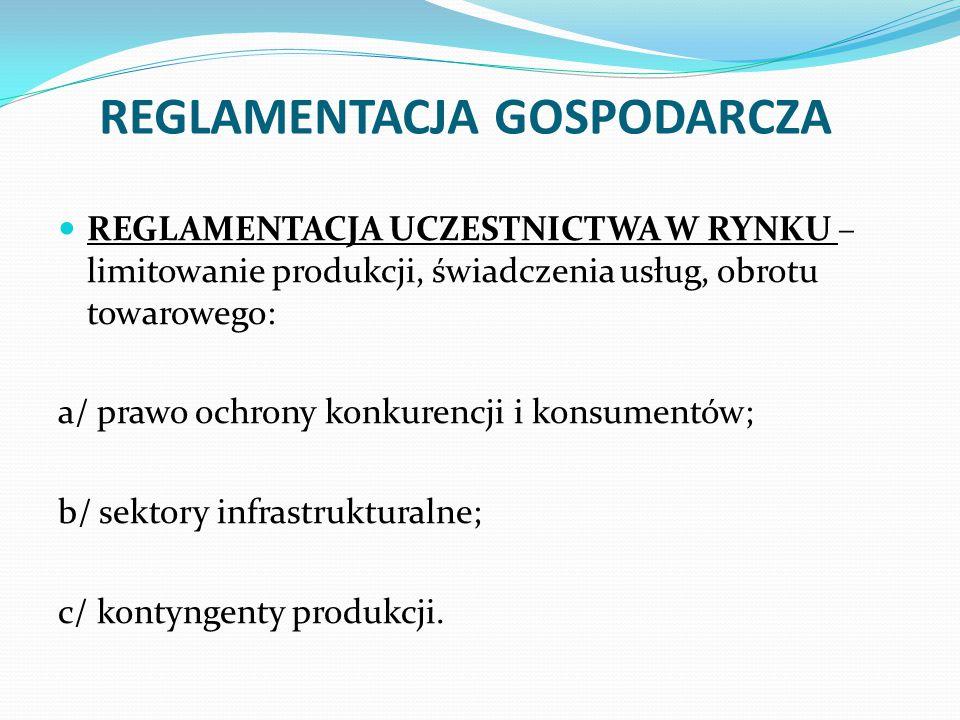 REGLAMENTACJA GOSPODARCZA REGLAMENTACJA UCZESTNICTWA W RYNKU – limitowanie produkcji, świadczenia usług, obrotu towarowego: a/ prawo ochrony konkurencji i konsumentów; b/ sektory infrastrukturalne; c/ kontyngenty produkcji.