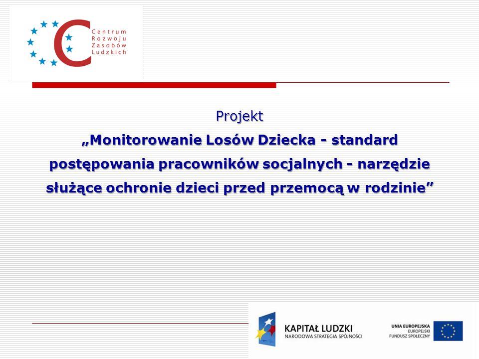 """Projekt """"Monitorowanie Losów Dziecka - standard postępowania pracowników socjalnych - narzędzie służące ochronie dzieci przed przemocą w rodzinie"""""""