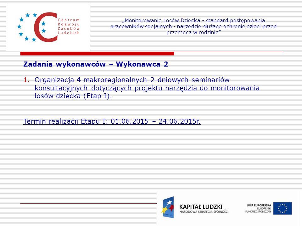 21 Zadania wykonawców – Wykonawca 2 1.Organizacja 4 makroregionalnych 2-dniowych seminariów konsultacyjnych dotyczących projektu narzędzia do monitorowania losów dziecka (Etap I).