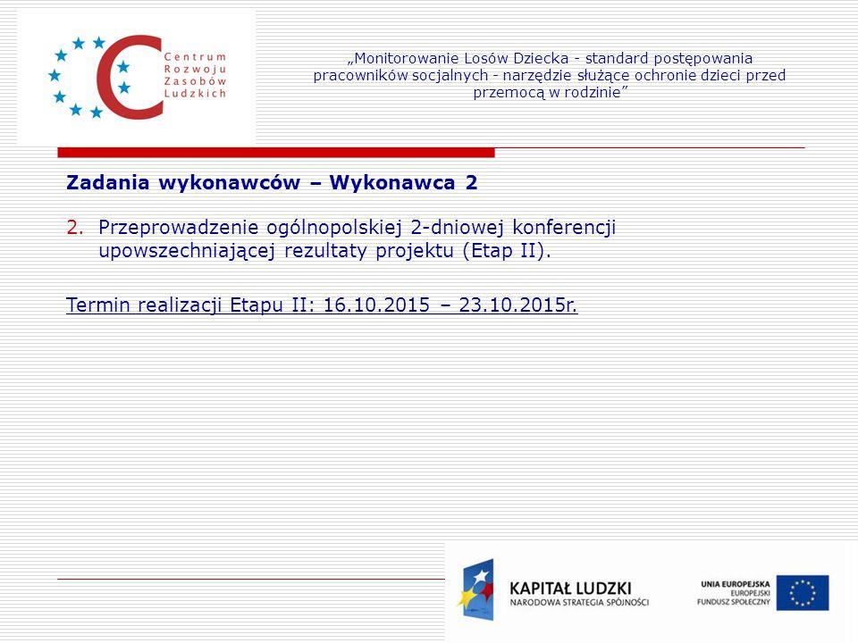 22 Zadania wykonawców – Wykonawca 2 2.Przeprowadzenie ogólnopolskiej 2-dniowej konferencji upowszechniającej rezultaty projektu (Etap II). Termin real