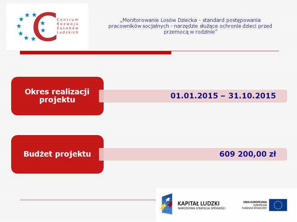 """Okres realizacji projektu 01.01.2015 – 31.10.2015 Budżet projektu 609 200,00 zł """"Monitorowanie Losów Dziecka - standard postępowania pracowników socja"""