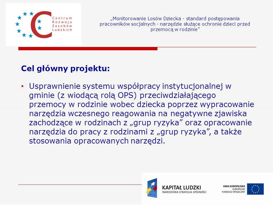 Cel główny projektu: Usprawnienie systemu współpracy instytucjonalnej w gminie (z wiodącą rolą OPS) przeciwdziałającego przemocy w rodzinie wobec dzie