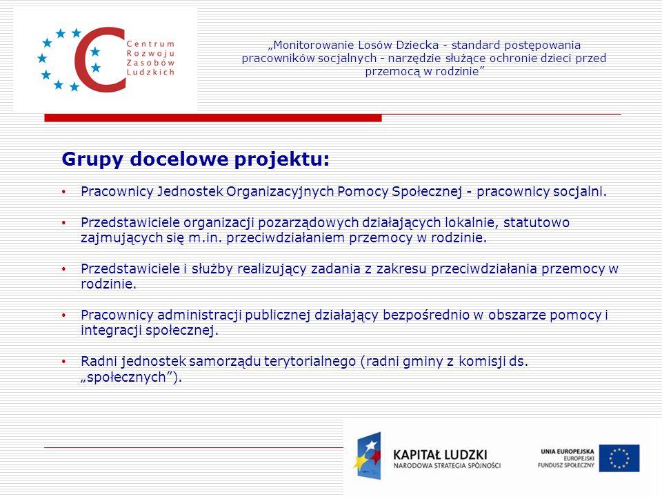 6 Grupy docelowe projektu: Pracownicy Jednostek Organizacyjnych Pomocy Społecznej - pracownicy socjalni. Przedstawiciele organizacji pozarządowych dzi