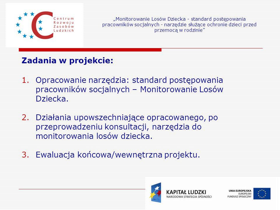 7 Zadania w projekcie: 1.Opracowanie narzędzia: standard postępowania pracowników socjalnych – Monitorowanie Losów Dziecka. 2.Działania upowszechniają