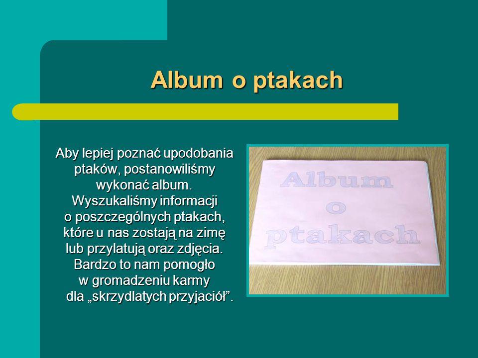 Album o ptakach Aby lepiej poznać upodobania ptaków, postanowiliśmy wykonać album.