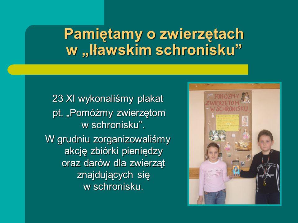 """Pamiętamy o zwierzętach w """"Iławskim schronisku"""" 23 XI wykonaliśmy plakat pt. """"Pomóżmy zwierzętom w schronisku"""". pt. """"Pomóżmy zwierzętom w schronisku""""."""