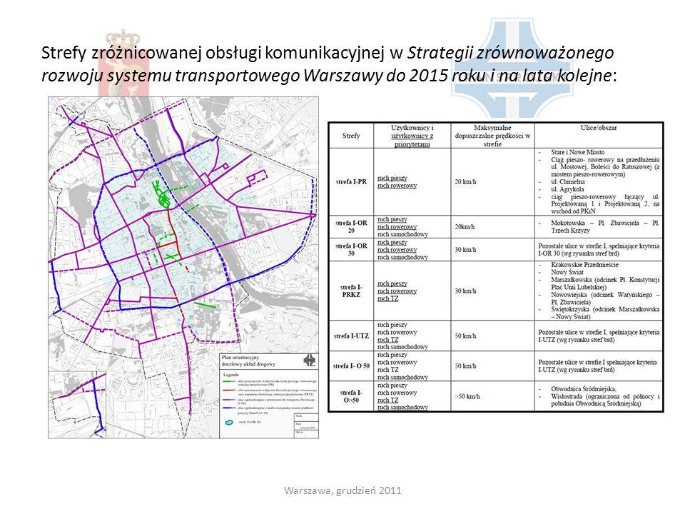Strefy zróżnicowanej obsługi komunikacyjnej w Strategii zrównoważonego rozwoju systemu transportowego Warszawy do 2015 roku i na lata kolejne: Warszaw