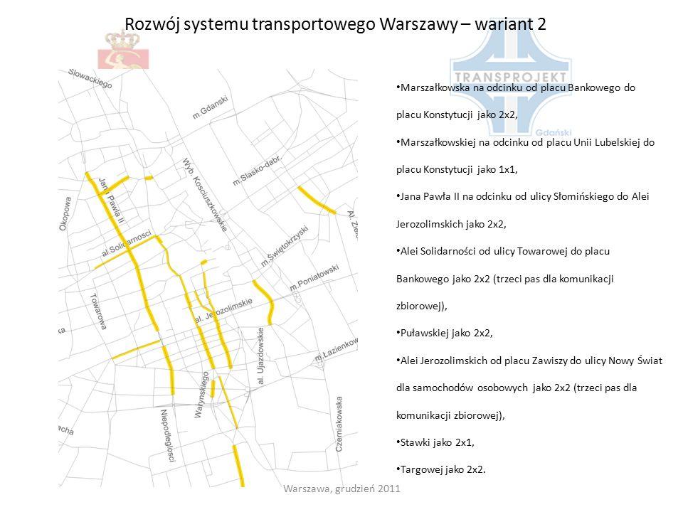 Rozwój systemu transportowego Warszawy – wariant 2 Warszawa, grudzień 2011 Marszałkowska na odcinku od placu Bankowego do placu Konstytucji jako 2x2,