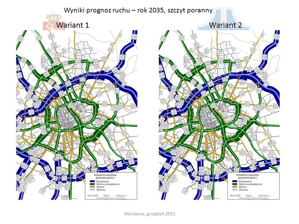 Wyniki prognoz ruchu – rok 2035, szczyt poranny Wariant 1Wariant 2 Warszawa, grudzień 2011