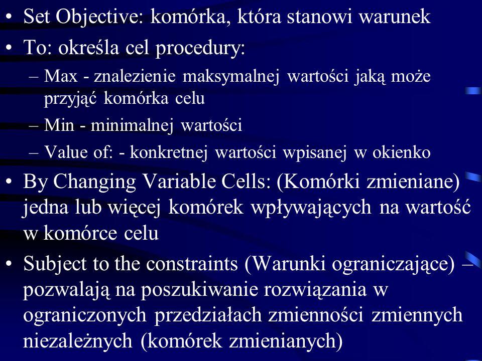 Set Objective: komórka, która stanowi warunek To: określa cel procedury: –Max - znalezienie maksymalnej wartości jaką może przyjąć komórka celu –Min - minimalnej wartości –Value of: - konkretnej wartości wpisanej w okienko By Changing Variable Cells: (Komórki zmieniane) jedna lub więcej komórek wpływających na wartość w komórce celu Subject to the constraints (Warunki ograniczające) – pozwalają na poszukiwanie rozwiązania w ograniczonych przedziałach zmienności zmiennych niezależnych (komórek zmienianych)
