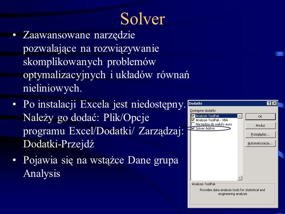 Solver Zaawansowane narzędzie pozwalające na rozwiązywanie skomplikowanych problemów optymalizacyjnych i układów równań nieliniowych.