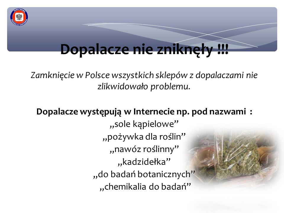 Dopalacze nie zniknęły !!! Zamknięcie w Polsce wszystkich sklepów z dopalaczami nie zlikwidowało problemu. Dopalacze występują w Internecie np. pod na