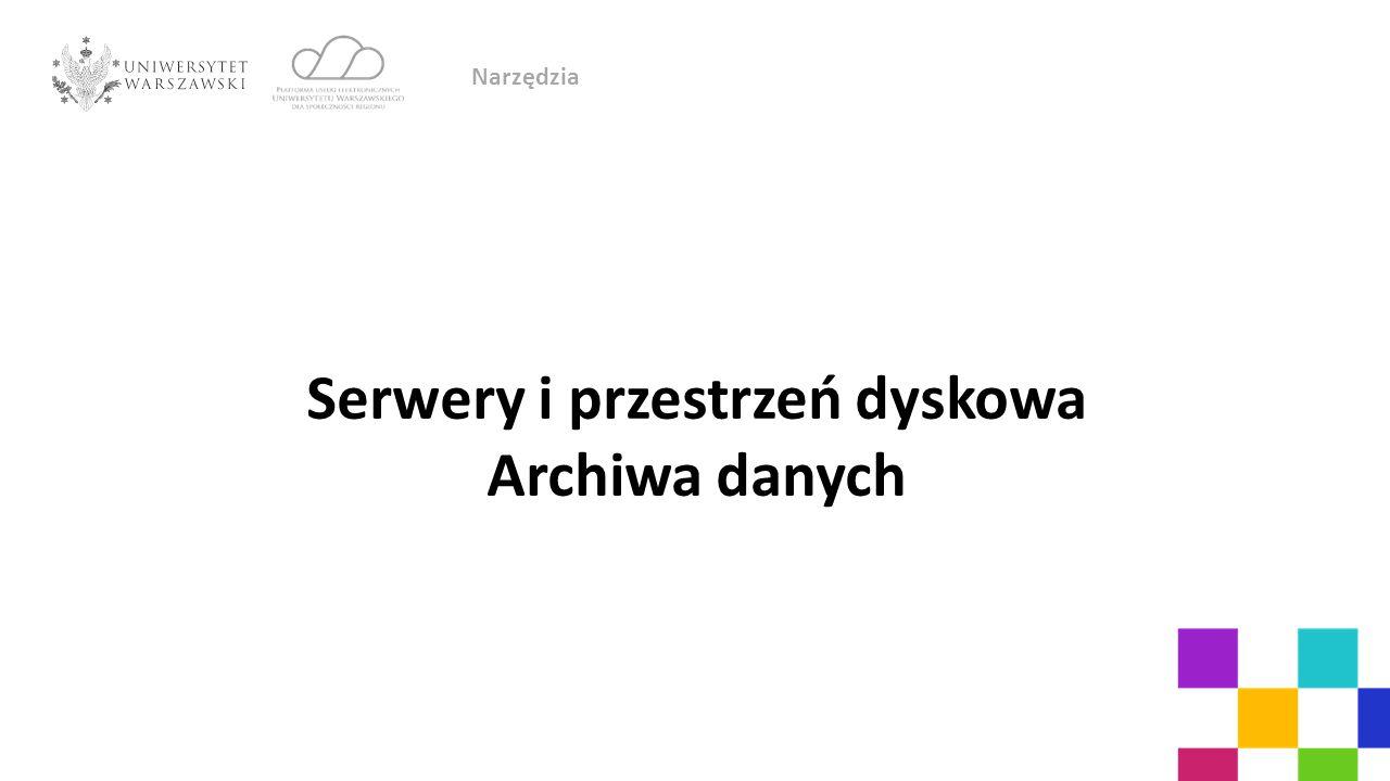 Serwery i przestrzeń dyskowa Archiwa danych Narzędzia