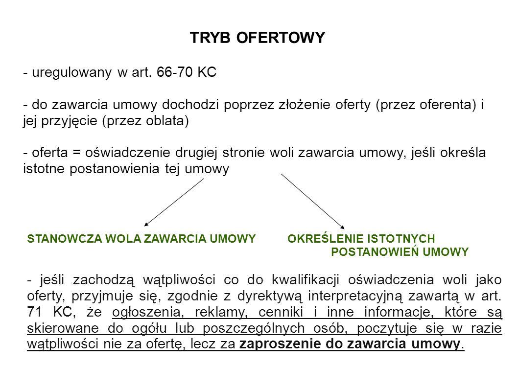 TRYB OFERTOWY - uregulowany w art.