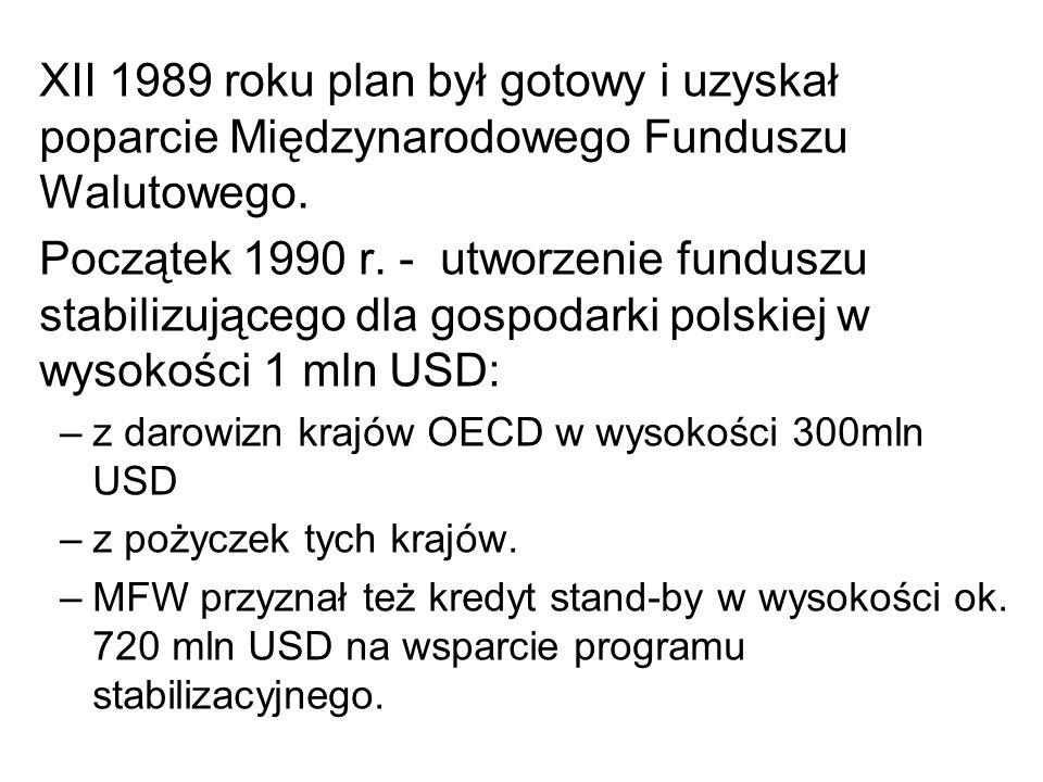 XII 1989 roku plan był gotowy i uzyskał poparcie Międzynarodowego Funduszu Walutowego. Początek 1990 r. - utworzenie funduszu stabilizującego dla gosp