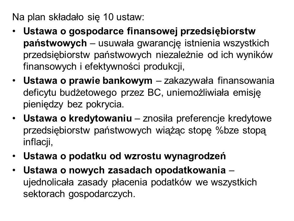 Na plan składało się 10 ustaw: Ustawa o gospodarce finansowej przedsiębiorstw państwowych – usuwała gwarancję istnienia wszystkich przedsiębiorstw państwowych niezależnie od ich wyników finansowych i efektywności produkcji, Ustawa o prawie bankowym – zakazywała finansowania deficytu budżetowego przez BC, uniemożliwiała emisję pieniędzy bez pokrycia.