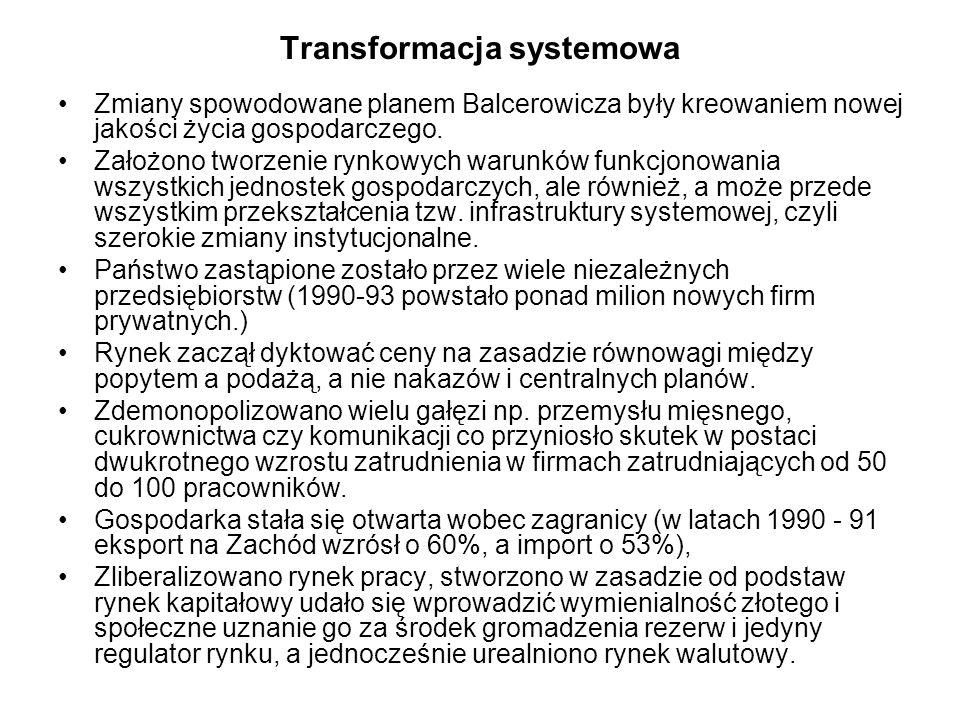 Transformacja systemowa Zmiany spowodowane planem Balcerowicza były kreowaniem nowej jakości życia gospodarczego. Założono tworzenie rynkowych warunkó