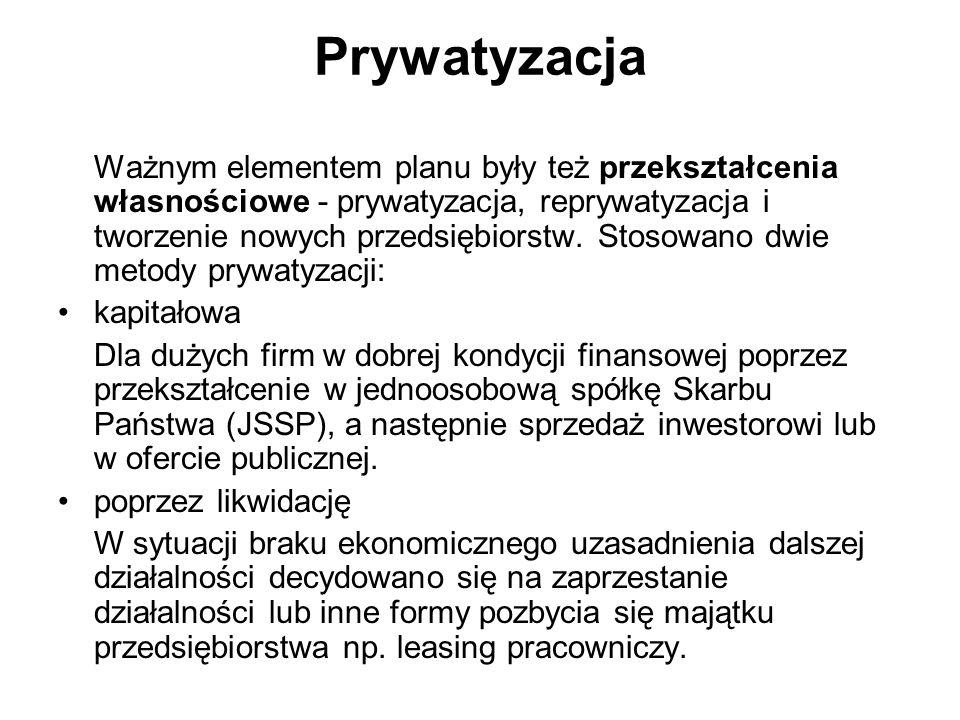 Prywatyzacja Ważnym elementem planu były też przekształcenia własnościowe - prywatyzacja, reprywatyzacja i tworzenie nowych przedsiębiorstw. Stosowano